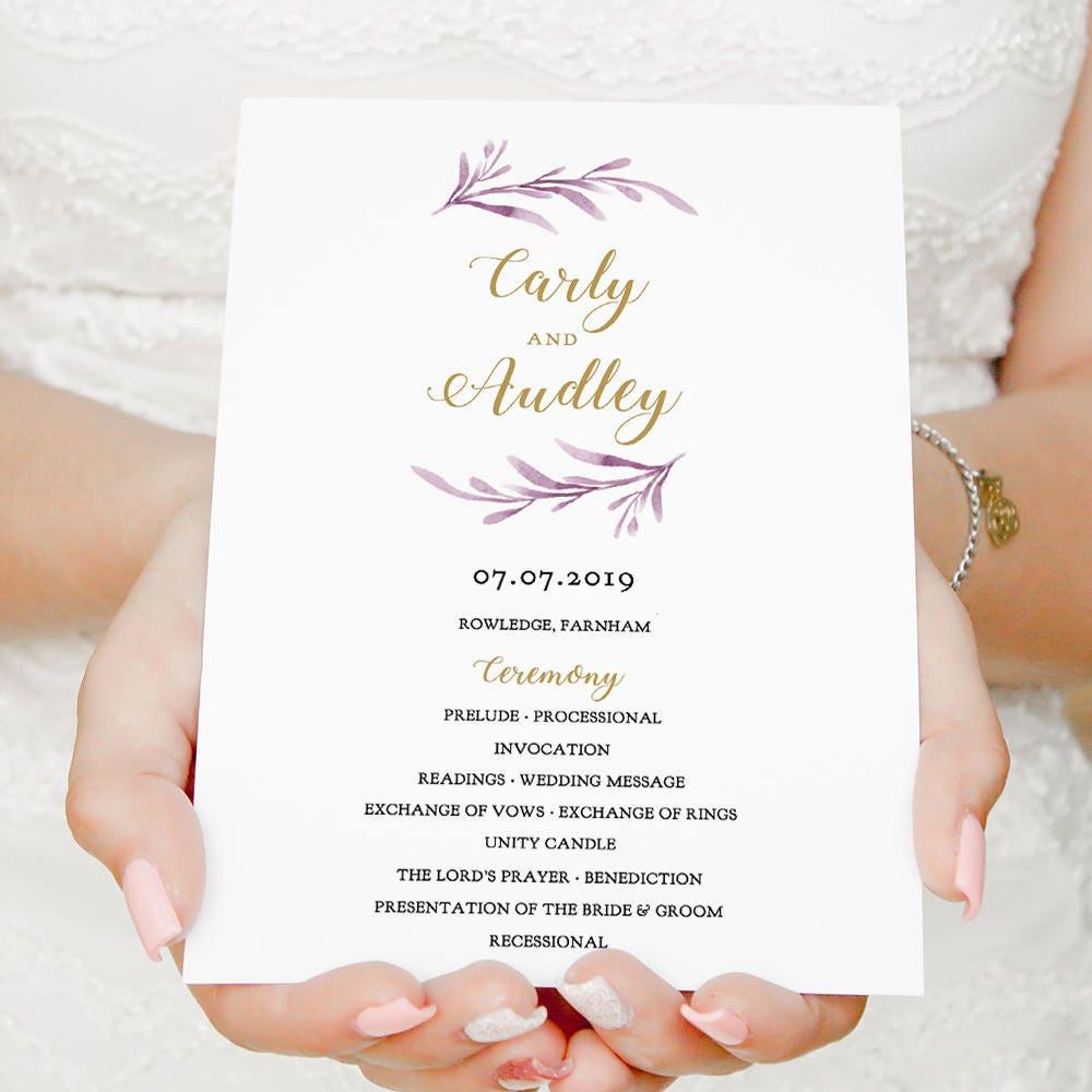 flat lilac wedding program template printable lilac program front