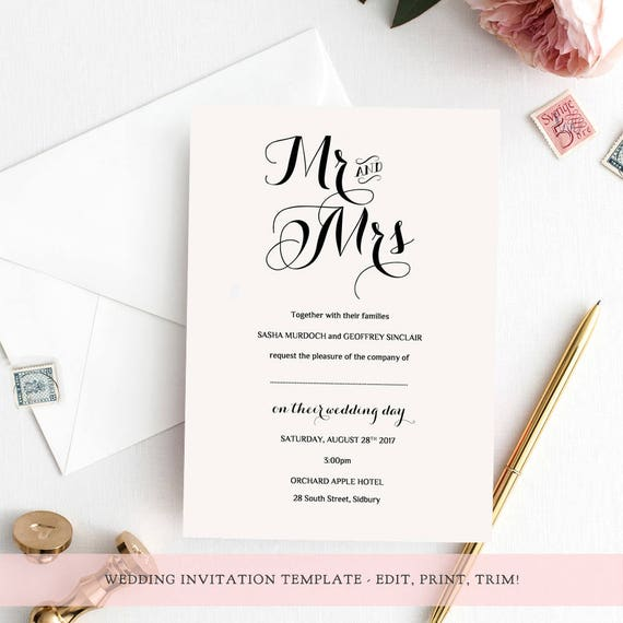 Wedding Invitation template set printable template invitation rsvp info | Byron | Any colours | Edit in WORD or PAGES