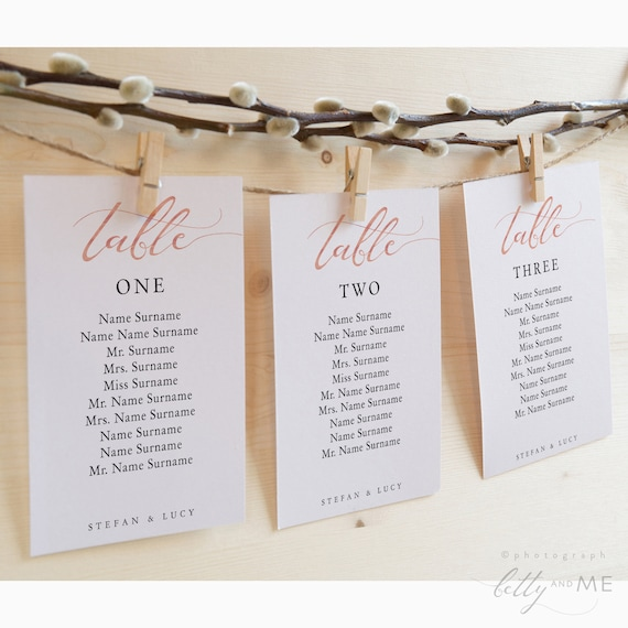LucyRose - Hanging Seating Cards, DIY Rose Gold EFFECT Printable Templates, Corjl Template, FREE Demo