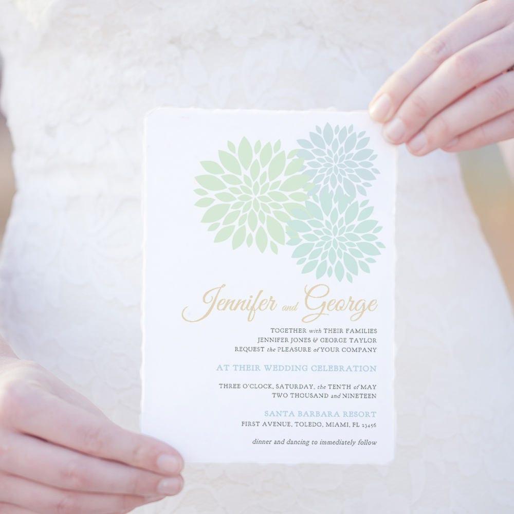 Mint Green Wedding Invitation Template Printable Pale