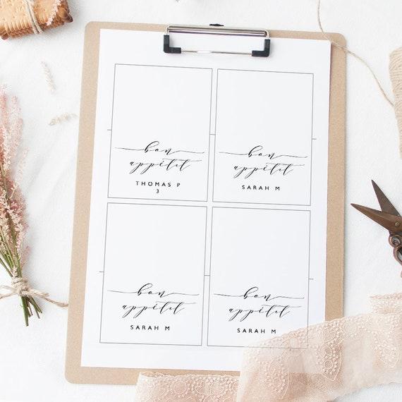 bon appetit table setting folded card printable template name etsy