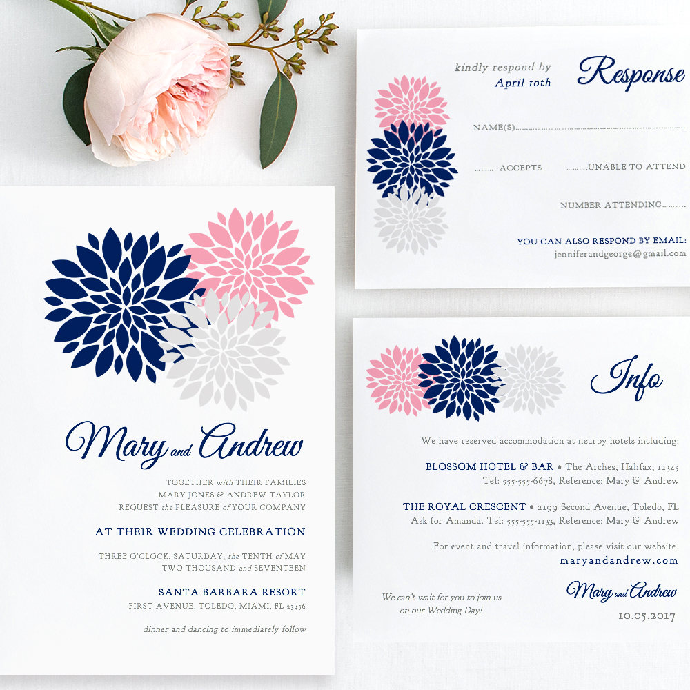 Navy Blue Pink Blush Silver Wedding Invitation Template Printable