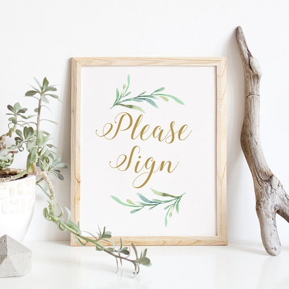"Please Sign printable sign, Greenery Please Sign Wedding Printable, Wedding Signage, 8x10"", Download and Print"