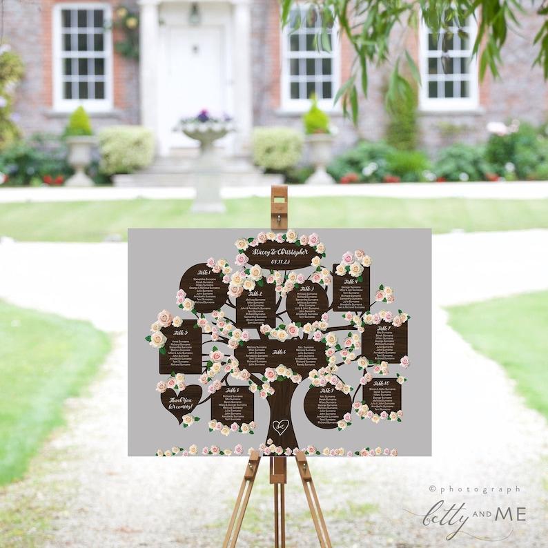 4 to 20 Tables Tree Seating Plan Templates 4 sizes Wedding image 0