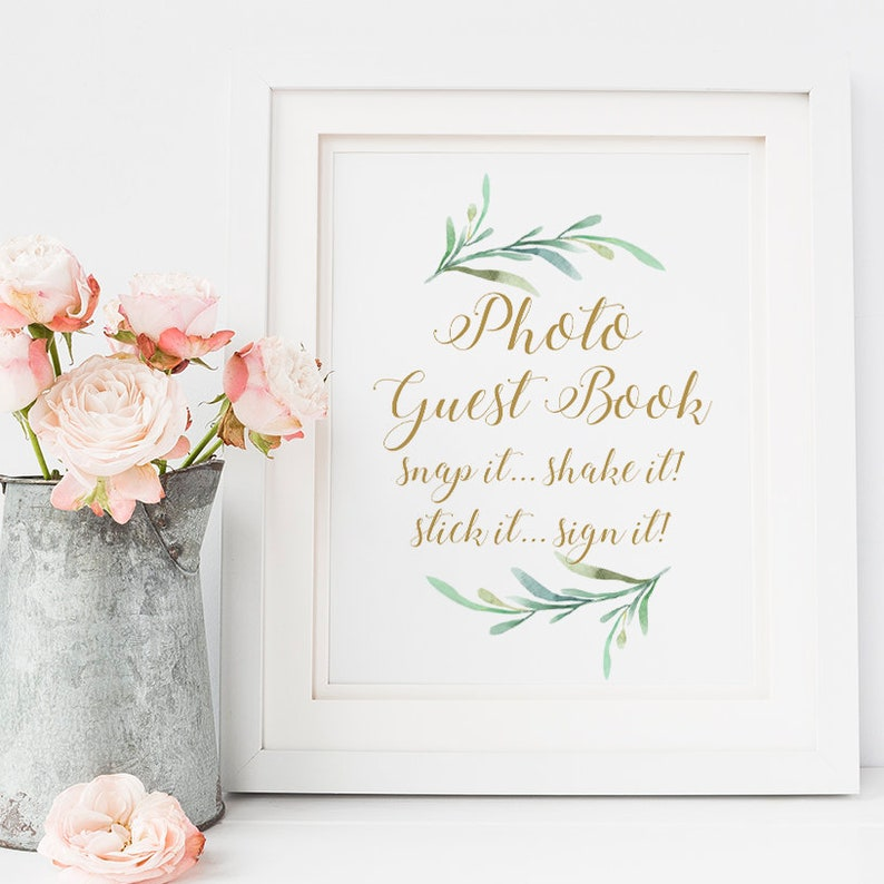 Greenery Photo Guest Book Sign Snap it Shake it Stick it Sign image 0