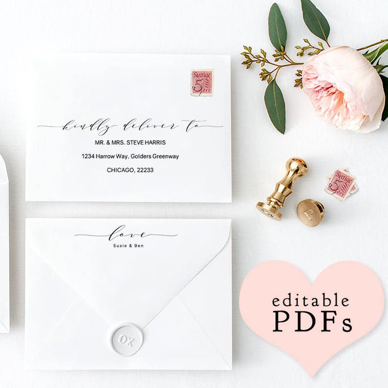 Printable Wedding envelope template 5x7 6x9 image 0