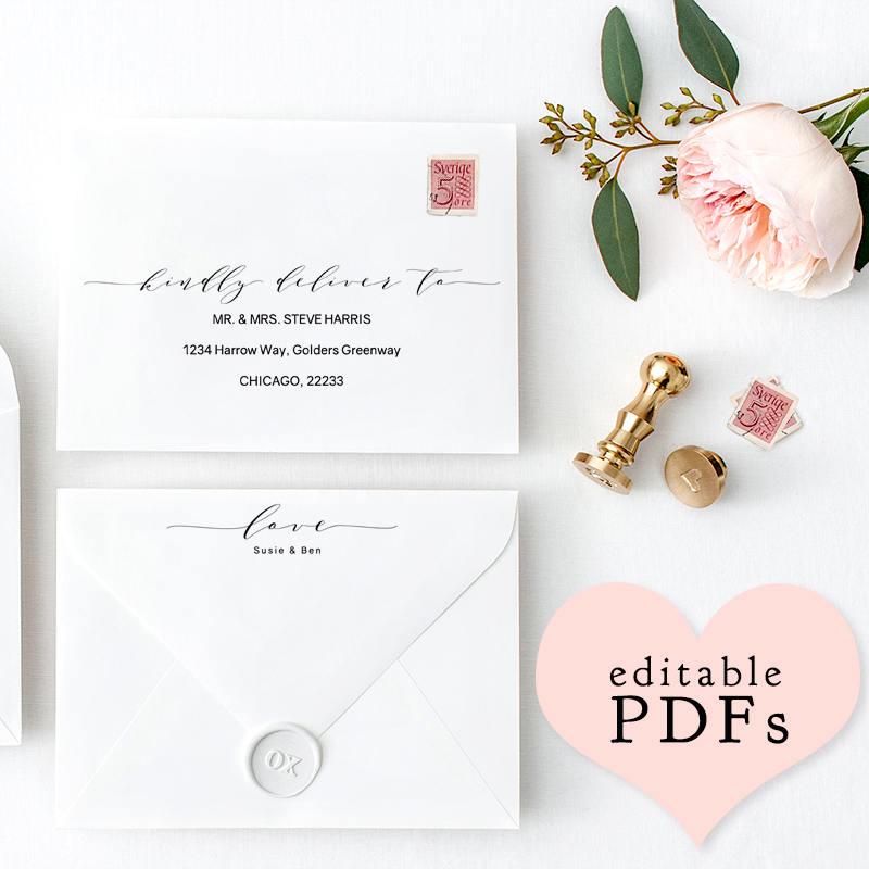 Printable Wedding Envelope Template 5x7 6x9 5x35 Front Back Editable DIY PDF