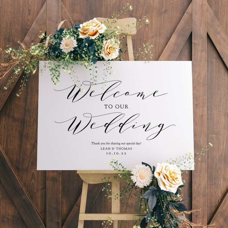 Welcome Sign Welcome to our Wedding Sign Printable 6 sizes image 0