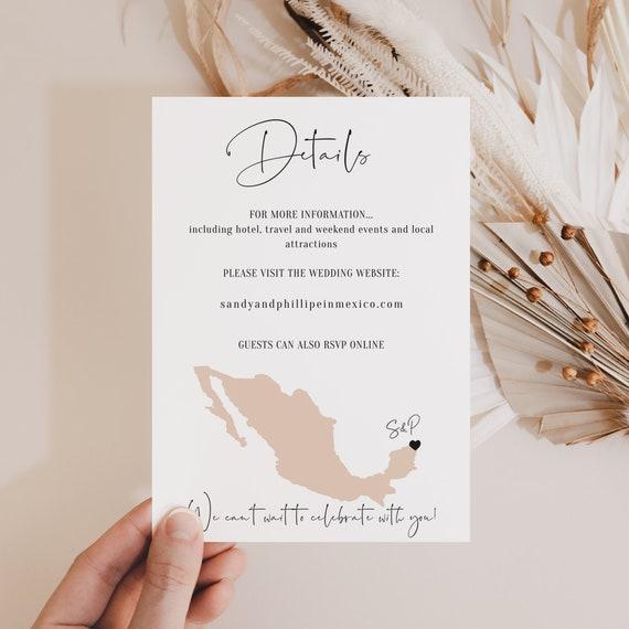 "Destination - Mexico Details Card Template, Mexico Destination Wedding Information Card 4x5.5"" and A6, Corjl Templates, FREE Demo"