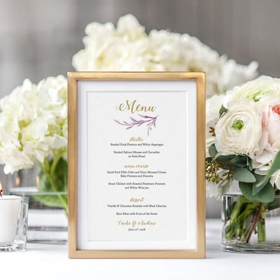 Lilac Wedding Menu Template Printable Reception 5x7