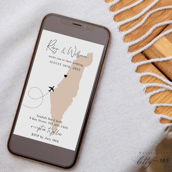 Destination - Israel Electronic Invites, Evites, Tel Aviv, Jerusalem, Israel, Wedding Evite, Corjl Templates, FREE Demo