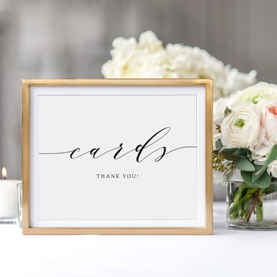 "Wedding Cards Sign, Printable Wedding Signage 5x7"" and 8x10"", Cards Wedding Sign printable wedding signs, ""Wedding"", Download and Print"