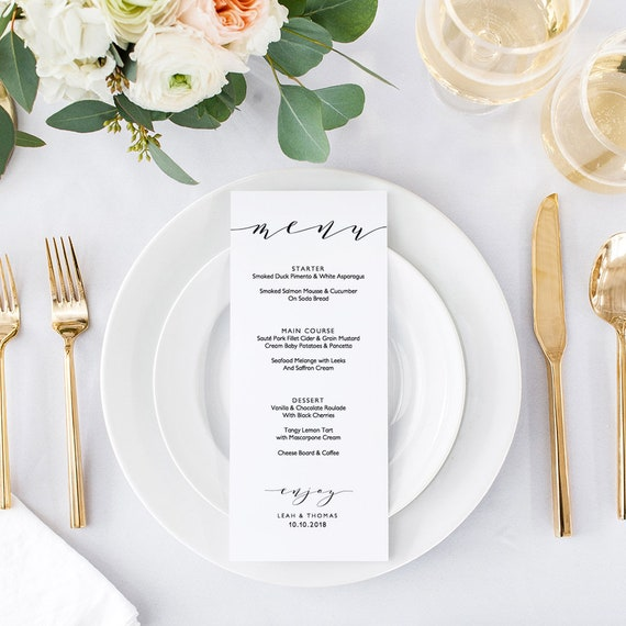 "4x9"", 5x7"" and 8x10"" printable menus, 3 sizes included, Printable menu cards DIY templates ""Wedding"", Corjl FREE Demo"