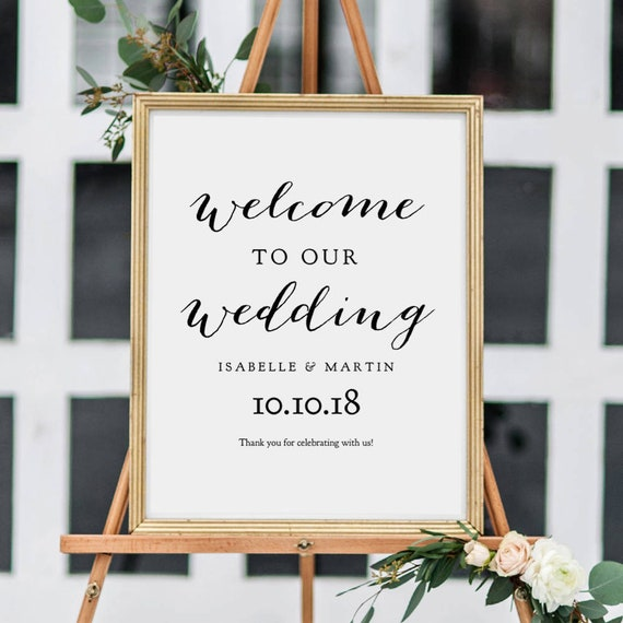 Welcome To Our Wedding Printable Sign, 18x24 inch, Printable Welcome Sign, Wedding Signs, Printable, Sweet Bomb. Edit in ACROBAT