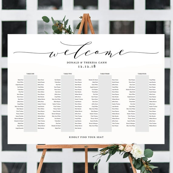 """Banquet Seating Chart 4 Long Tables, Banquet Table Plan Printable Template, """"Wedding"""", 24x36"""", A1 sizes included Edit in ACROBAT"""