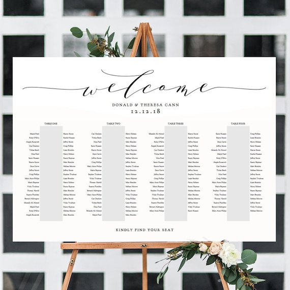 "Banquet Seating Chart 4 Long Tables, Banquet Table Plan Printable Template, ""Wedding"", 24x36"", A1 sizes included Editable PDF"