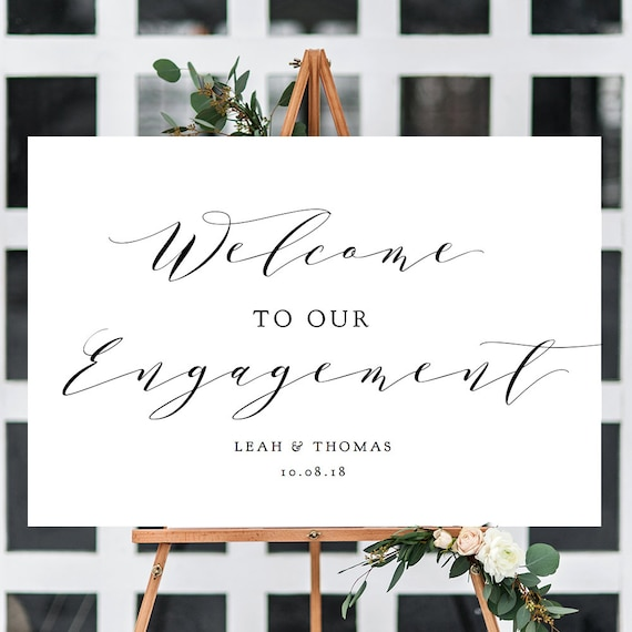 "Welcome Engagement Sign, Printable Welcome to Our Engagement Sign, ""Wedding"" Printable Sign 6 sizes included, Editable PDF"