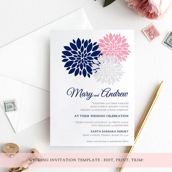 Navy blue & pink invitation template printable flower invitation, Flowers, you can easily change all colours. Edit in WORD or PAGES