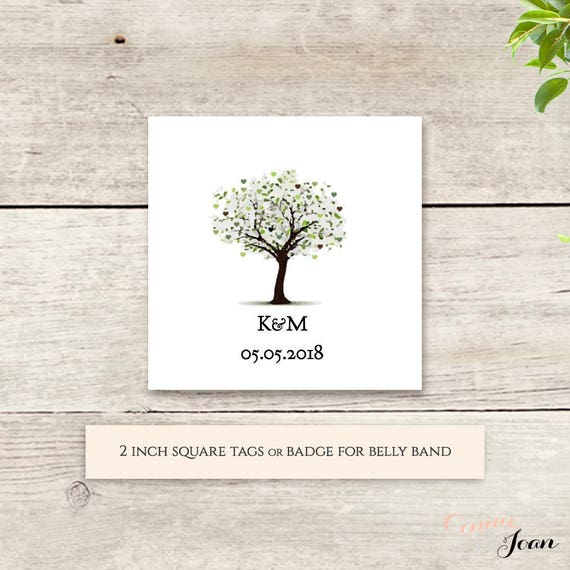 "Tree favour tag 2x2"" printable template, Wedding favour tag or decorate your wedding invitation set bands. Edit, print, trim.'Tree of Love'."