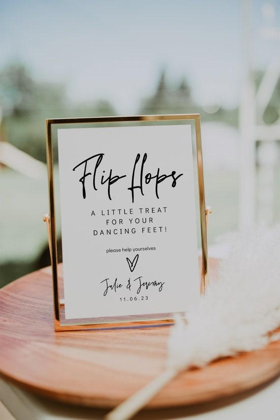 Flip Flops Sign, Wedding Dancing Feet, Printable Flip Flops Sign, Wedding Dance Floor Sign, 3 Sizes , Corjl Template, FREE Demo | 88