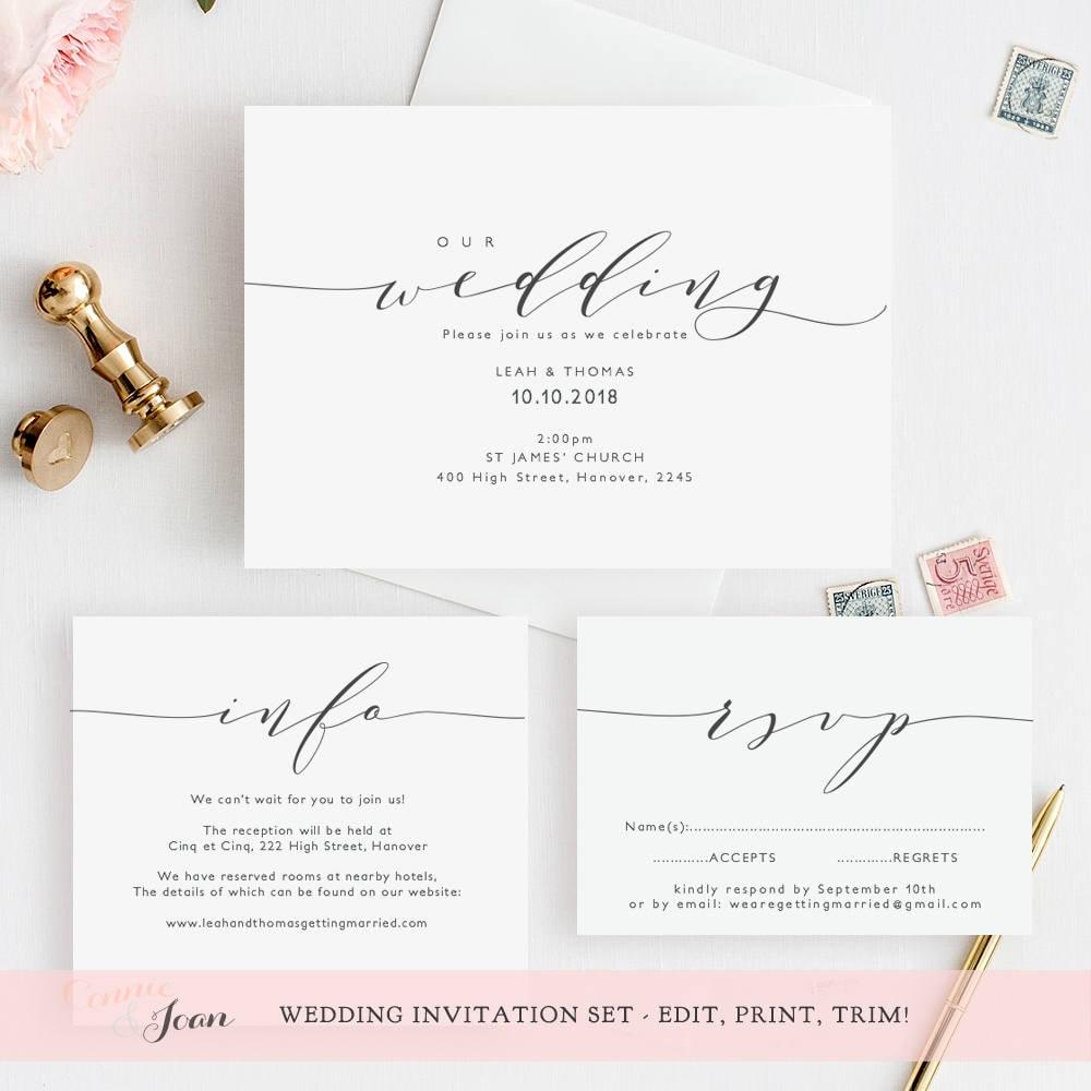 Wedding Invitation Template Invitation Set   Printable wedding ...