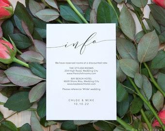 "Romantic - Elegant Wedding Information Cards, Modern Wedding, Printable Enclosure cards, 4x5.5"" & A6, Corjl FREE Demo"