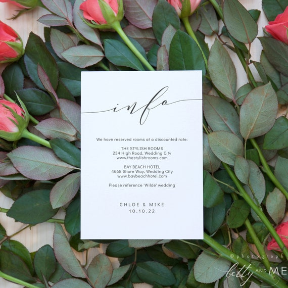 "Romantic - Elegant Wedding Information Cards, Modern Wedding, Printable Enclosure cards, 4x5.5"" & A6, Corjl FREE Demo"