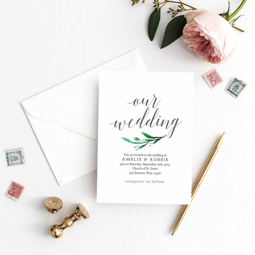 Printable Wedding Invitation Invite With Greenery