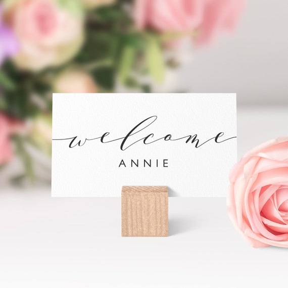 "Place cards printable template, Flat and Folded welcome escort guest place cards, table setting name cards, ""Wedding"", Edit in WORD or PAGES"