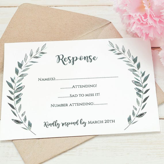 Wedding rsvp card template printable rsvp card | Leaves wreath, RSVP | Royal Gardens | Editable printable wedding template