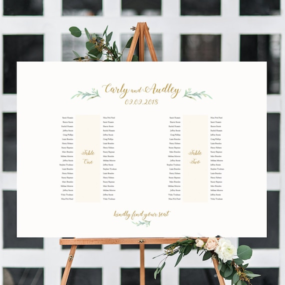 "2 Banquet Table Seating Plan - 2 Long Tables, Printable Banquet Table Plan ""Greenery"" 24x36"" and A1 sizes included Editable PDF"