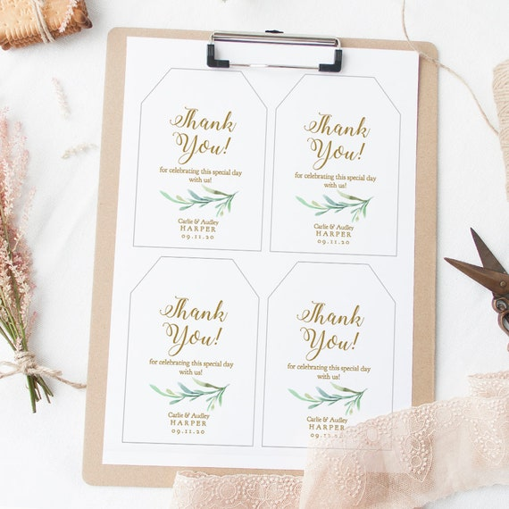 """Large Favor Thank You Tags, 3.5x5"""" each, Printable Gift Tags DIY Template, 4 per page, Wedding Favor Gift Tags, Greenery, Edit in ACROBAT"""