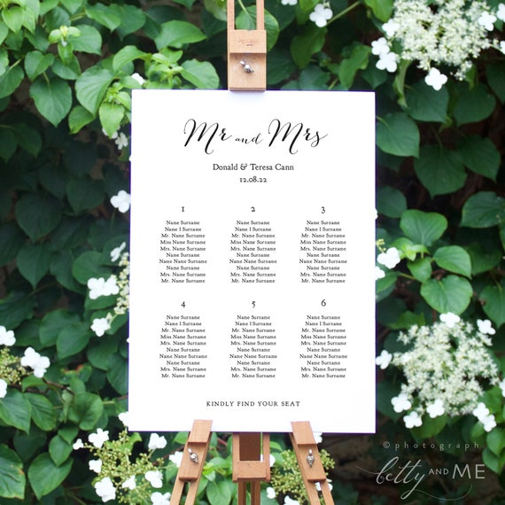 """Wedding Seating Chart Template Printable 11x17"""" and A3 sizes, Instant Download. Sweet Bomb. Corjl Template, FREE Demo"""