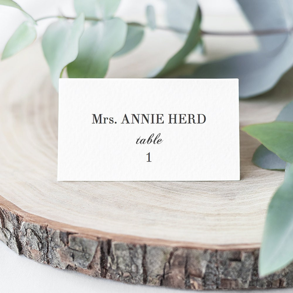 Double Sided Folded Elegant Name Place Cards, 3.5x2 DIY Printable ...