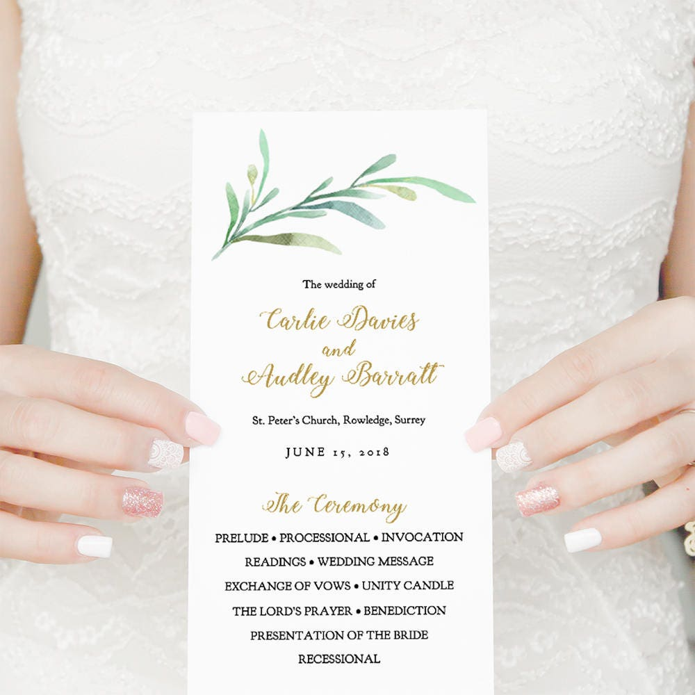 Greenery Wedding Program Template Printable Wedding Program Long - Pages wedding program template
