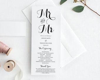 Mr and Mr Wedding Programs, Printable Wedding Program, includes Mr and Mrs, Mrs and Mrs, Mr and Mr, FREE Demo Corjl, 'BYRON'