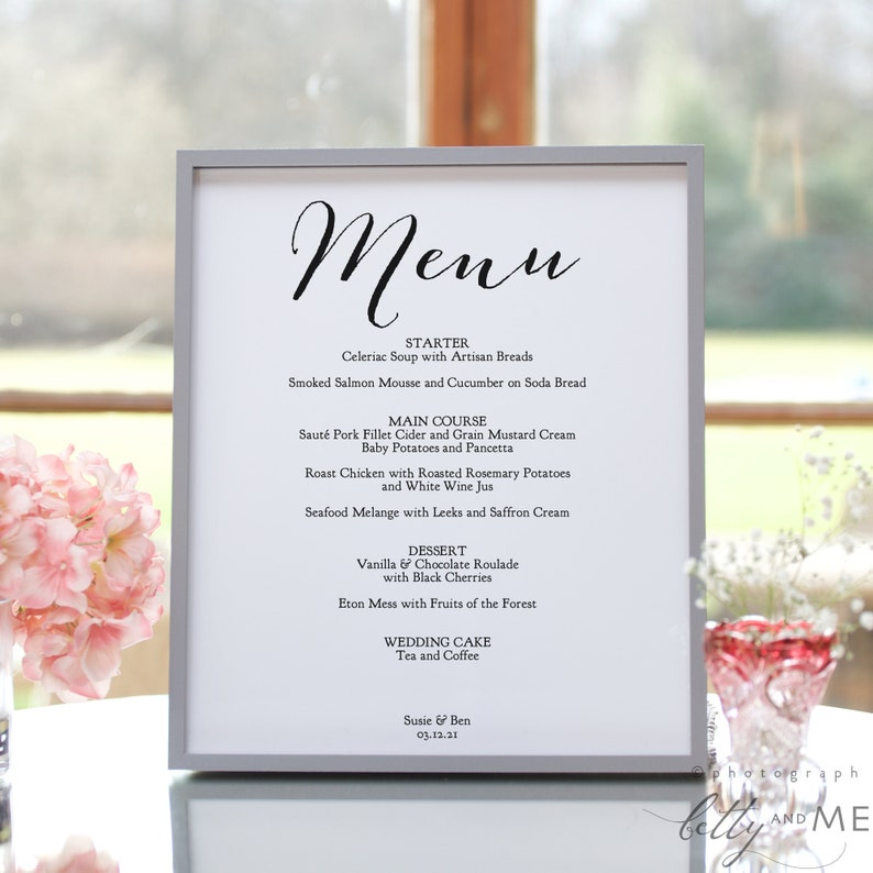 Wedding Menu Template Printable Menu Template 3 Sizes image 0
