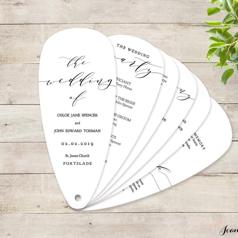 Fan Wedding Program Petal Fan program printable instant image 0