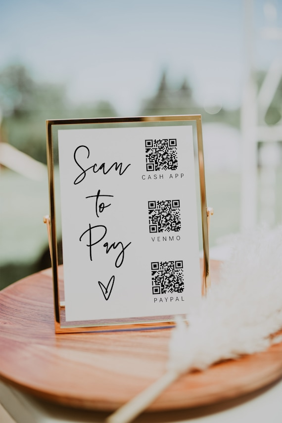Scan to Pay Sign, Printable QR Code Sign Template, Customer QR Code Payment Sign, Small Business Sign, Corjl Template, FREE Demo | 88