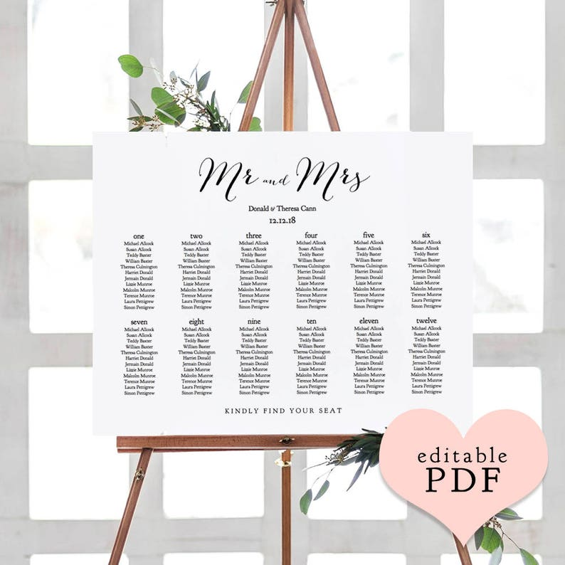 Wedding Seating Chart Template Printable Tables Or Alphabetical Sweet Bomb 7 Sizes Including A0 A1 A2 A3 Editable Pdf Reader