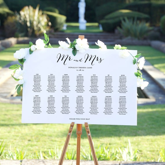 "Wedding Seating Chart Template Download, Seating Plan Templates. ""Sweet Bomb"" 4 Sizes, Corjl Template, FREE Demo"