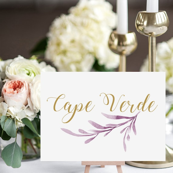 "Lilac Wedding Table Names Template, Printable Reception Table Name. 5x7"" and 4x6"" DIY Table Cards, Edit in WORD or PAGES"