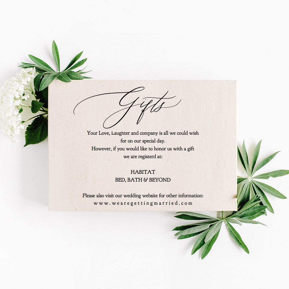 What Is A Gift Registry For Wedding: Gifts Card Template Printable Gift Card Gift Registry, 5x3