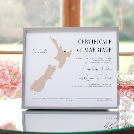 Destination - New Zealand Marriage Certificate, Wedding Keepsake, Printable Certificate of Marriage, Corjl Templates, FREE Demo