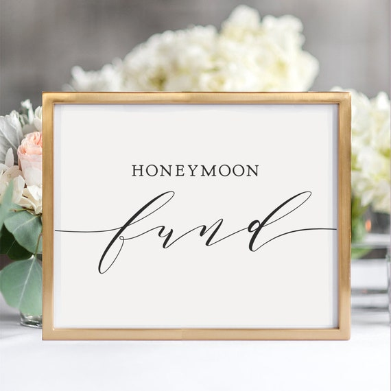 "Honeymoon Fund Sign, Printable Honeymoon Fund Sign, Wedding Sign, 8x10"" wedding sign, Download and Print"
