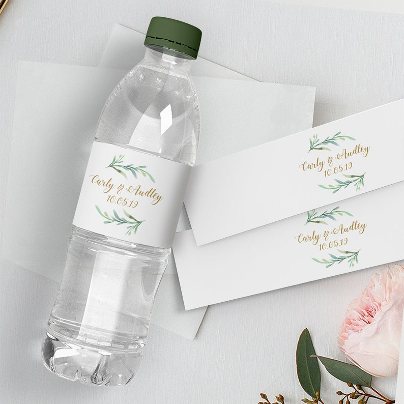image relating to Printable Bottle Labels named H2o Bottle Label, Do it yourself Printable Wedding ceremony Drinking water Bottle Labels, 1.25\