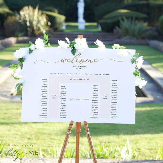 LucyGold - Banquet Table Seating Plan, U Shaped Printable Seating Plan Template, Corjl template, FREE demo