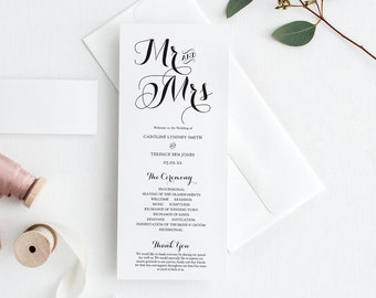 """Mr and Mrs Wedding Programs, 4x9"""" Printable Wedding Program and half page, Mr and Mrs, Mrs and Mrs, Mr and Mr Corjl, 'BYRON'"""