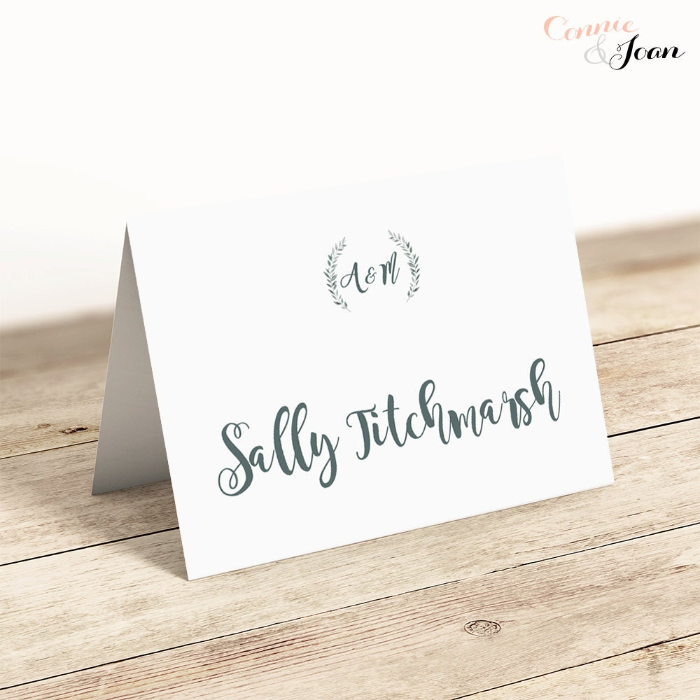 Printable place cards template, flat and folded table name cards ...