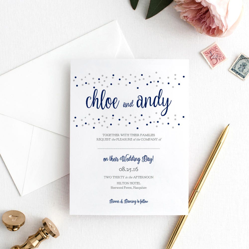 Confetti dot wedding invitation template printable invitation confetti dot wedding invitation template printable invitation template navy blue and silver dots dotty shimmer edit in word or pages stopboris Choice Image